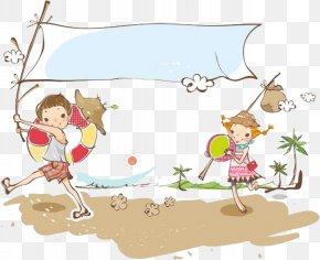 Beach Vacation Travel - Picnic Cartoon Illustration PNG