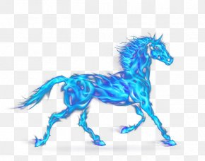 Blue Flame Horse - Cool Flame Fire PNG