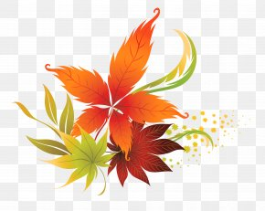 Fall Leaves Decor Clipart Picture - Autumn Leaf Color Clip Art PNG