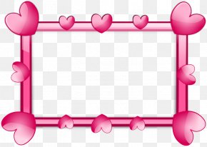 Pink Heart Cartoon Frames - Heart Picture Frame Clip Art PNG