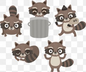 Cute Little Vector Raccoon - Raccoon Cartoon Clip Art PNG