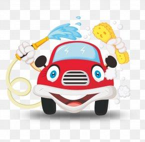 Cartoon Red Car - Car Wash Cartoon Illustration PNG