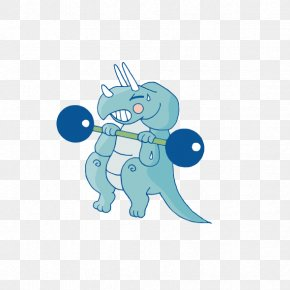 Rhino Weightlifting - Animal Cartoon Illustration PNG