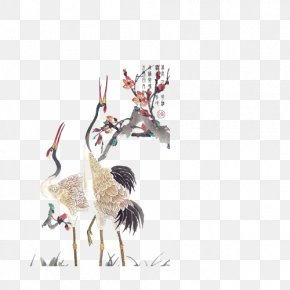 White Crane - Red-crowned Crane Tattoo PNG