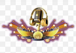 Golden Microphone With Wings - Microphone Download Computer File PNG