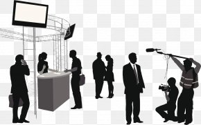 Interview Silhouettes In The Crowd - Microphone Silhouette Journalist Interview PNG