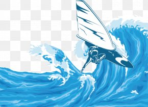 Summer Wind Surfing Vector Background - The Waves Euclidean Vector Wind Wave PNG