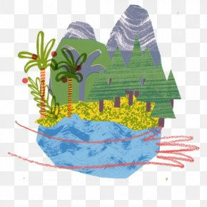 Cartoon Forest Mountains - Tree Forest PNG