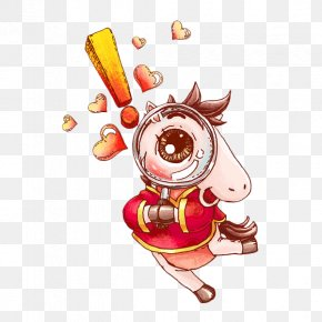 Hand Drawn Pony With A Magnifying Glass - Magnifying Glass Illustration PNG