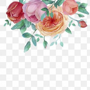 Hand-painted Watercolor Flower Decorative Frame - Watercolor Painting Flower Garden Roses PNG