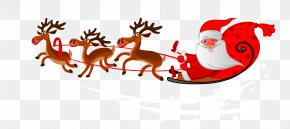 Santa's Sleigh - Santa Clauss Reindeer Mrs. Claus Rudolph Christmas PNG