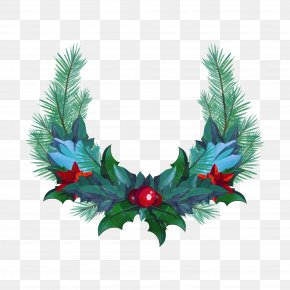 Vector Christmas Wreath - Wreath Christmas Garland PNG