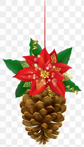 Christmas Pinecone With Poinsettia Clipart Image - Poinsettia Christmas Clip Art PNG