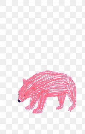 Red Lines Painted Polar Bear - Polar Bear Drawing Illustrator Illustration PNG