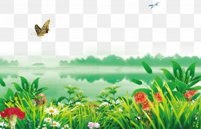 Riverside Flowers Decorated With Green Background - Poster Wallpaper PNG