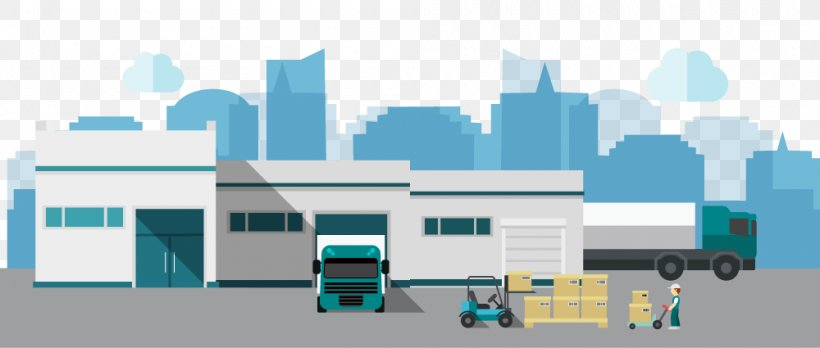 Warehouse Euclidean Vector Logistics Factory, PNG, 1000x425px, Warehouse, Architecture, Brand, Building, Elevation Download Free