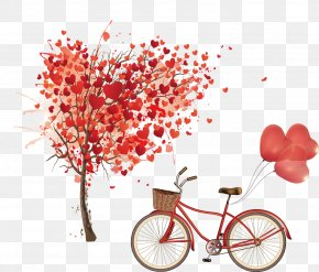 Bicycle And Hand-painted Heart-shaped Tree - Euclidean Vector Heart Tree PNG
