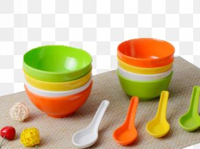 Plastic Bowl Spoon Set - Spoon Plastic Bowl PNG