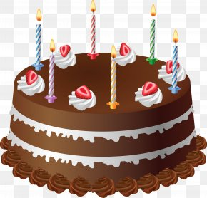 Chocolate Cake With Candles Art Large Picture - Birthday Cake Layer Cake Chocolate Cake Clip Art PNG