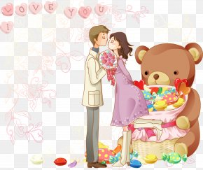 Romance Kissing Bear - Cartoon Drawing Romance PNG