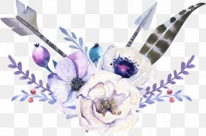 Elegant Watercolor Bohemian Wind Arrow Flowers - Arrow Bohemianism PNG