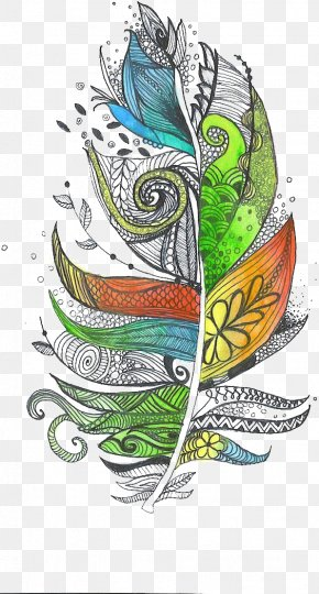 Feather - Zentangle The Enchanted Forest Feather Doodle Drawing PNG