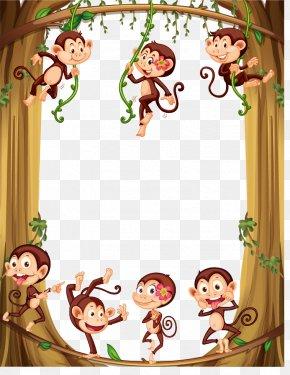 Vector Monkey Border - Monkey Cartoon Illustration PNG