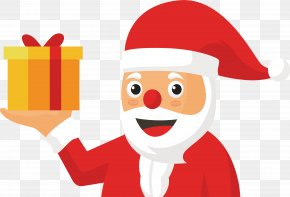 Santa Claus With A Gift - Santa Claus Gift Christmas Computer File PNG