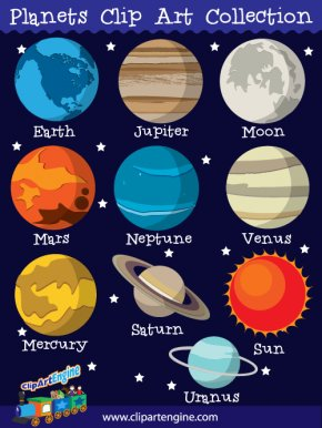 Order Cliparts Free - The Nine Planets Solar System Clip Art PNG