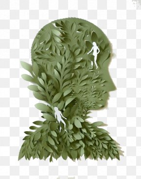 Army Green Paper Head - Paper Craft Sculpture Art Illustration PNG
