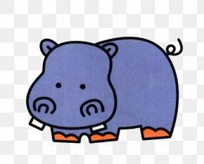 Blue Rhinoceros - Hippopotamus Painting Child Cartoon Stroke PNG