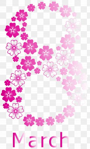 Pink 8 March Womens Day PNG Clipart Image - International Women's Day March 8 Clip Art PNG