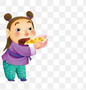 Hand-painted Children Eating Food - Food Child Eating PNG
