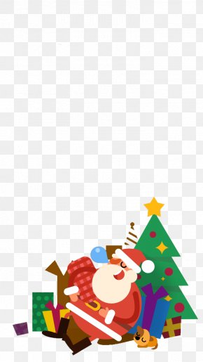 Flat Cartoon Santa Claus - Santa Claus Christmas Ornament Christmas Tree Illustration PNG