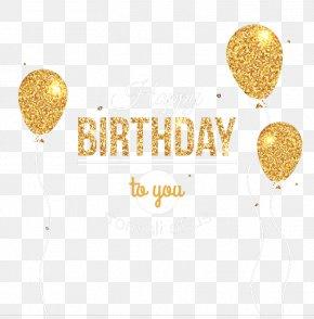 Golden Birthday Balloons Greeting Card Vector Material - Balloon Birthday Greeting Card Clip Art PNG