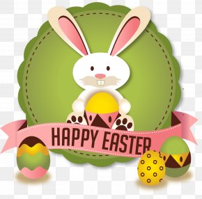 Vector Easter Bunny Badge - Easter Bunny Easter Egg Greeting Card PNG