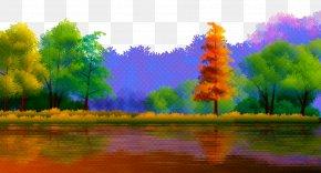 Landscape Acrylic Paint - Natural Landscape Nature Reflection Painting Sky PNG