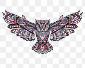 Owl Tattoo Illustration Picture - Wall Decal Tattoo Sticker PNG