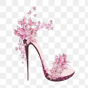 Beautiful Decorative Pattern High Heels - High-heeled Footwear Shoe Stock Photography Drawing Royalty-free PNG