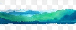 Vector Cartoon Mountains - Water Resources Green Wallpaper PNG