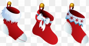 Transparent Three Christmas Stockings - Christmas Stocking Clip Art PNG