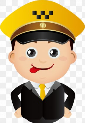 Little Cop With His Tongue Out - Taxi Cartoon Illustration PNG