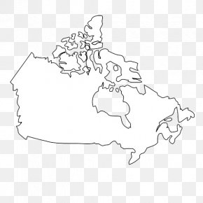 Black And White Lines Canada Map - Flag Of Canada Map Black And White PNG