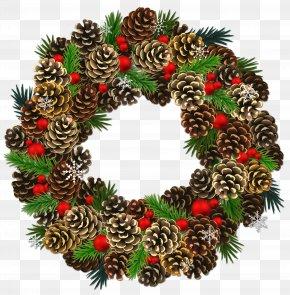 Transparent Christmas Pinecone Wreath Clipart - Conifer Cone Pine Clip Art PNG
