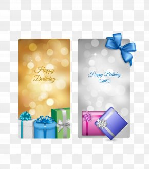 Vector Gold And Silver Birthday Card - Birthday Cake Greeting Card Banner PNG