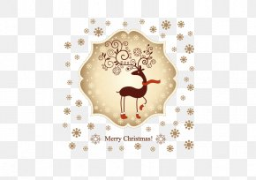 Cute Christmas Reindeer Vector Material - Christmas Card Reindeer Wedding Invitation Greeting Card PNG