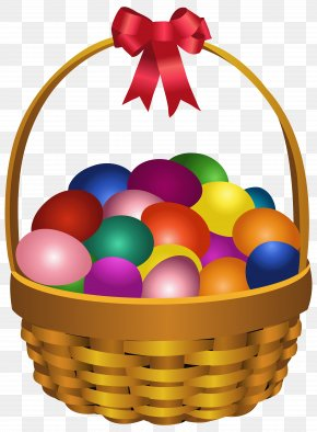 Easter - Easter Bunny Red Easter Egg Basket Clip Art PNG