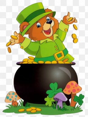 Saint Patrick Bear With Pot Of Gold - Saint Patrick's Day Leprechaun Irish People Green Beer Day Clip Art PNG