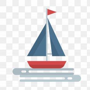 Blue Sailing Ship - Sailing Ship Euclidean Vector PNG