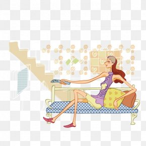 Sitting On The Couch Watching TV Beauty - Couch Sitting Illustration PNG